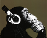 The Chimp Stereo Headphones Art Print Poster Mini Poster