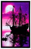 Moonlit Pirate Ghost Ship Blacklight Poster Art Print Lost Horizon Timberwolves Flocked Blacklight Poster