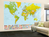 Map of the World with Flags Huge Wall Mural Art Print Poster