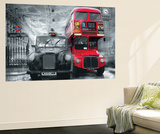 London Taxi and Bus Mini Mural Huge Poster Art Print