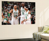 Boston, MA - June 3: Paul Pierce, Kev and Rajon Rondo