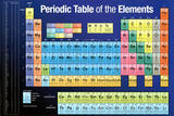 Periodic Table of the Elements Dark Blue Periodic Table of the Elements White Scientific Chart Poster Print