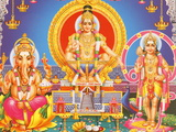 Picture of Hindu Gods Ganesh, Ayappa and Subramania, India, Asia