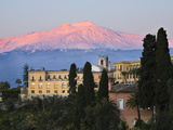 Sunrise over Taormina and Mount Etna with Hotel San Domenico Palace, Taormina, Sicily, Italy, Europ