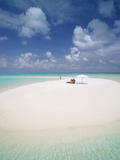 Woman Walking on a Sandbank, Maldives, Indian Ocean, Asia