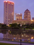 City Skyline and the Scioto River, Columbus, Ohio, United States of America, North America