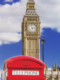 Red Telephone Box and Big Ben, Westminster, UNESCO World Heritage Site, London, England, United Kin