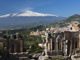 Buy The Greek Amphitheatre and Mount Etna, Taormina, Sicily, Italy, Europe at AllPosters.com
