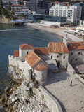 Church of St. Sava and Church of Santa Maria in Punta, Budva Old Town with the Beach Beyond, Budva,