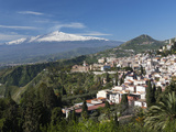 Buy View over Taormina and Mount Etna, Taormina, Sicily, Italy, Europe at AllPosters.com