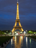 Eiffel Tower and Reflection at Twilight, Paris, France, Europe Photographic Print