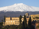 Buy View over Taormina and Mount Etna with Hotel San Domenico Palace, Taormina, Sicily, Italy, Europe at AllPosters.com