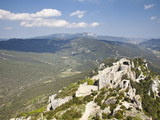 View of the Cathar Castle of Peyrepertuse in Languedoc-Roussillon, France, Europe