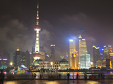 Pudong Skyline at Night across the Huangpu River, Oriental Pearl Tower on Left, Shanghai, China, As