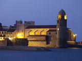 The Church of Notre-Dame-Des-Anges at Dusk from the Harbour at Collioure, Cote Vermeille, Languedoc