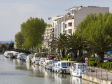 River Boats on the Canal De La Robine, Narbonne, Languedoc-Roussillon, France, Europe