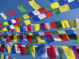 Colourful Prayer Flags Against Clear Blue Sky at Bodhnath Stupa (Boudhanth) (Boudha), One of the Ho
