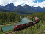 Morants Curve, Bow River, Canadian Pacific Railway, Near Lake Louise, Banff National Park, UNESCO W Photographic Print