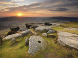 Sunset over Millstones, Froggatt and Curbar Edge, Peak District National Park, Derbyshire, England,
