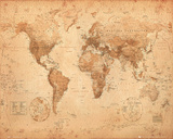 World Map - Antique Mini Poster