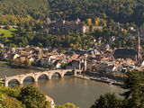 View of the Alte Brucke (Old Bridge), Neckar River Heidelberg Castle and Old Town from the Philosop