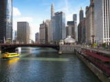 Boat and River, Chicago River, Chicago, Illinois, Usa