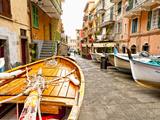 Fishing Boats in Manarola, Cinque Terre, Tuscany, Italy