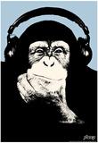 Steez Headphone Chimp - Blue Art Poster Print Poster
