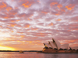 Australia, New South Wales, Sydney, Sydney Opera House, Boat in Harbour at Sunrise