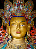India, Ladakh, Thiksey, the Immense and Beautifully Gilded Maitreya Buddha in the Chamkhang Temple