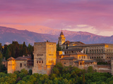 The Alhambra Palace at Sunset, Granada, Granada Province, Andalucia, Spain
