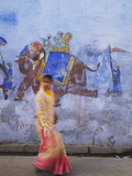 Woman Passing Mural, Bundi, Rajasthan, India