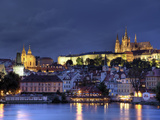 Czech Republic, Prague, Stare Mesto (Old Town), Charles Bridge, Hradcany Castle and St. Vitus Cathe