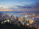 Hong Kong Island and Kowloon Skylines at Sunset, Hong Kong, China