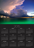 Lighting striking over green and blue water Poster Calendar