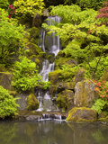 Heavenly Falls in Summer in the Japanese Garden, Portland, Oregon, USA