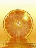 Illustration of a Bright Fresh Slice of Orange Reflected in Juice