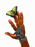 Conceptual 3D Illustration of a Robot Hand with a Colorful Butterfly Sitting on its Finger