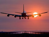 Boeing 747 Landing at Sunset, Vancouver International Airport, British Columbia, Canada Photographic Print