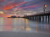 Sunset View of Stearns Wharf, a Central Attraction on the Beach in Santa Barbara, California, USA