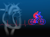 Biomedical Illustration of Exercise (Bicycling), an Ekg, and a Healthy Heart Section