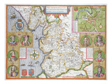 Lancashire in 1610, from John Speed's 'Theatre of the Empire of Great Britaine', First Edition