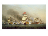 Vice Admiral Sir George Anson's (1697-1762) Victory Off Cape Finisterre, 1749 Oil on Canvas)