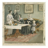 Professor Johannes Classen (1805-91) and Family, 1840 (W/C on Paper)