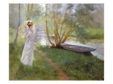 A Walk by the River, 1890 (Oil on Canvas)
