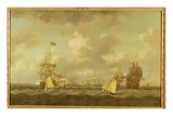 English Ships Coming to Anchor in a Fresh Breeze (Oil on Canvas)