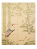 Bamboo and Crane, Edo Period (W/C on Panel)