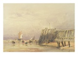 Seascape with Sailing Barges and Figures Wading Off-Shore, 1832 (W/C on Paper)