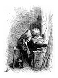 Charles Dickens at the Blacking Factory, an Illustration from 'The Leisure Hour', 1904 (Engraving)