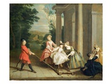 Children Playing with a Hobby Horse, C.1741-47 (Oil on Canvas)